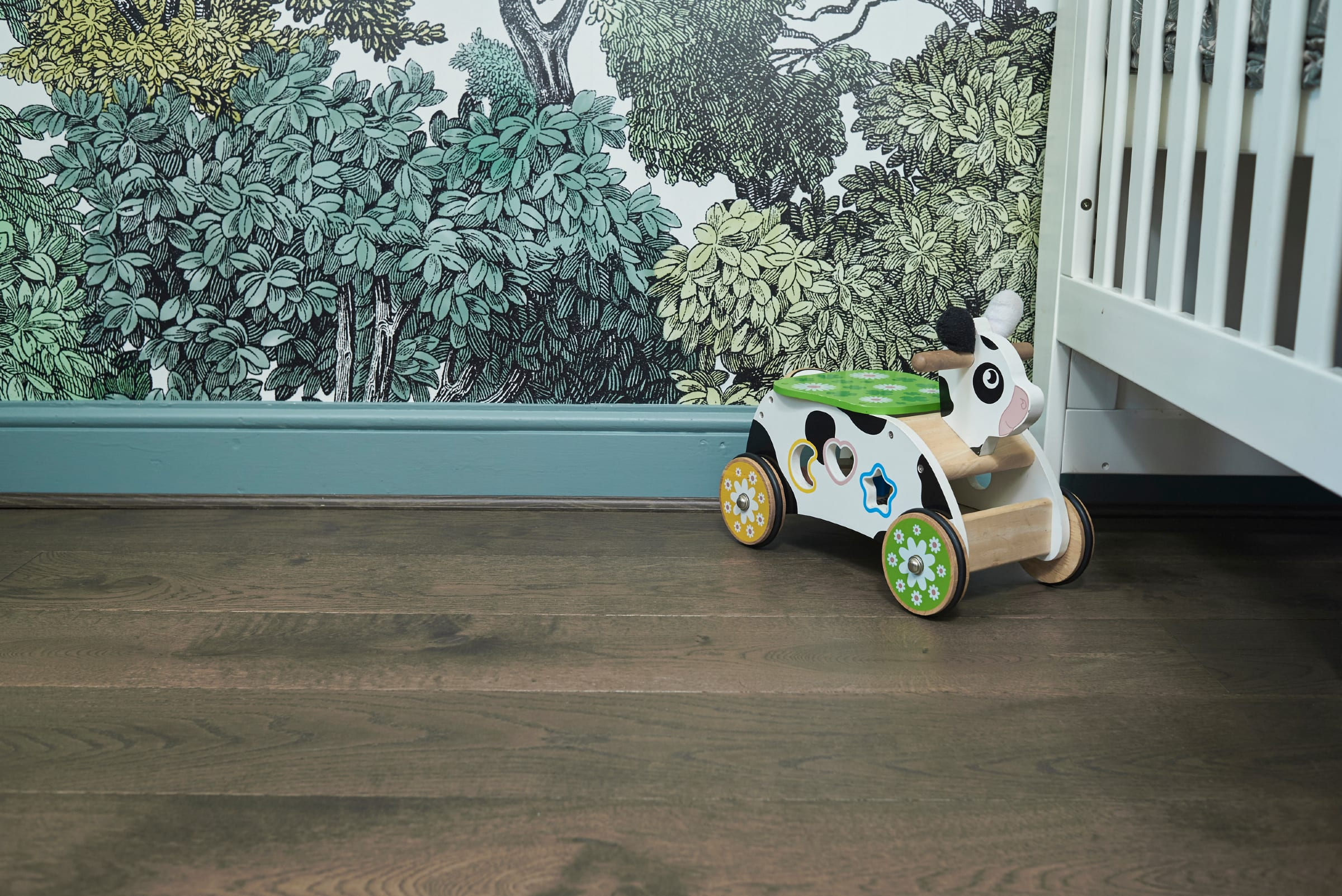 home wood floors with bellewood wallpaper