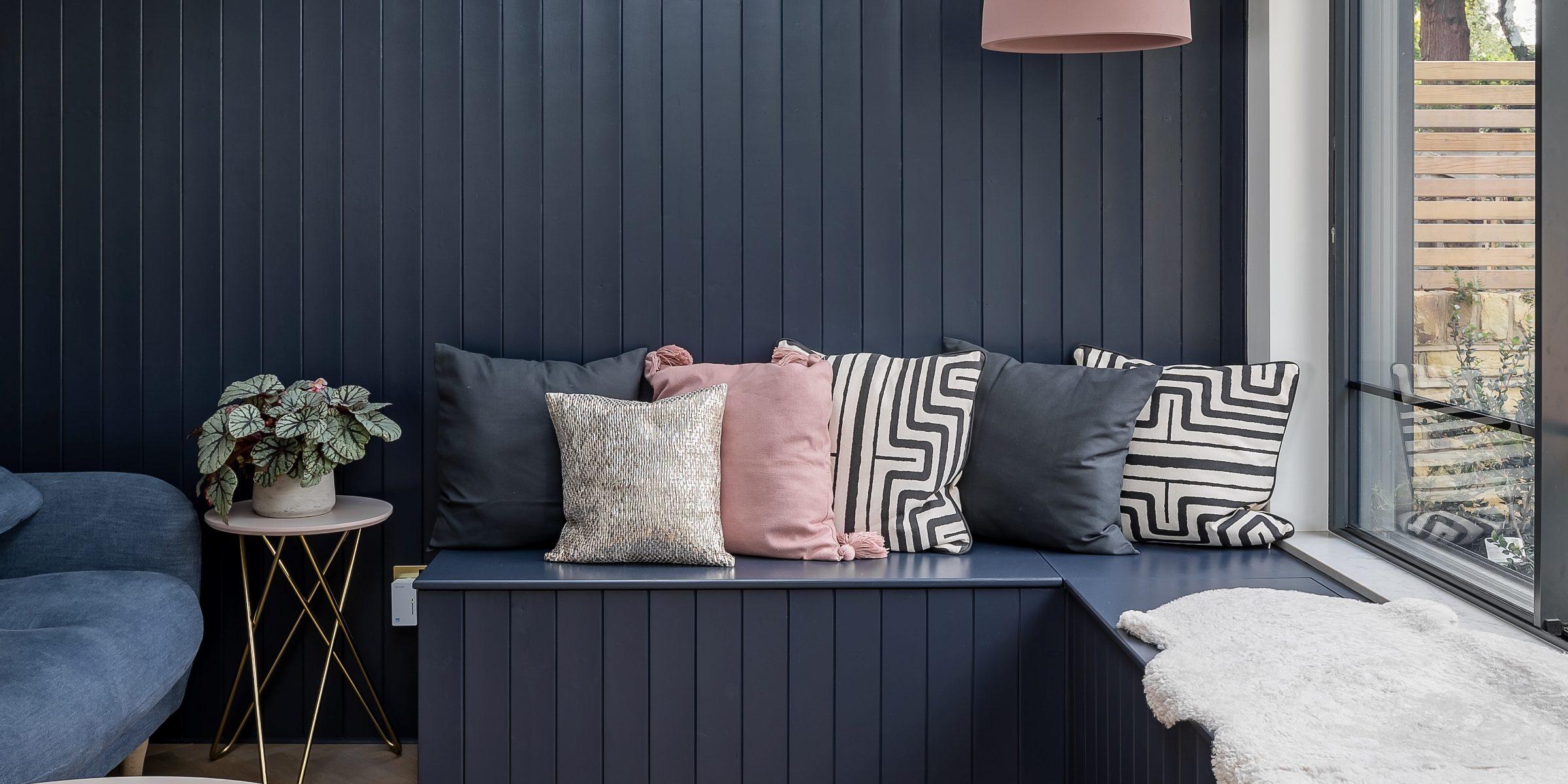 bespoke wood bench with zigzag wood floors