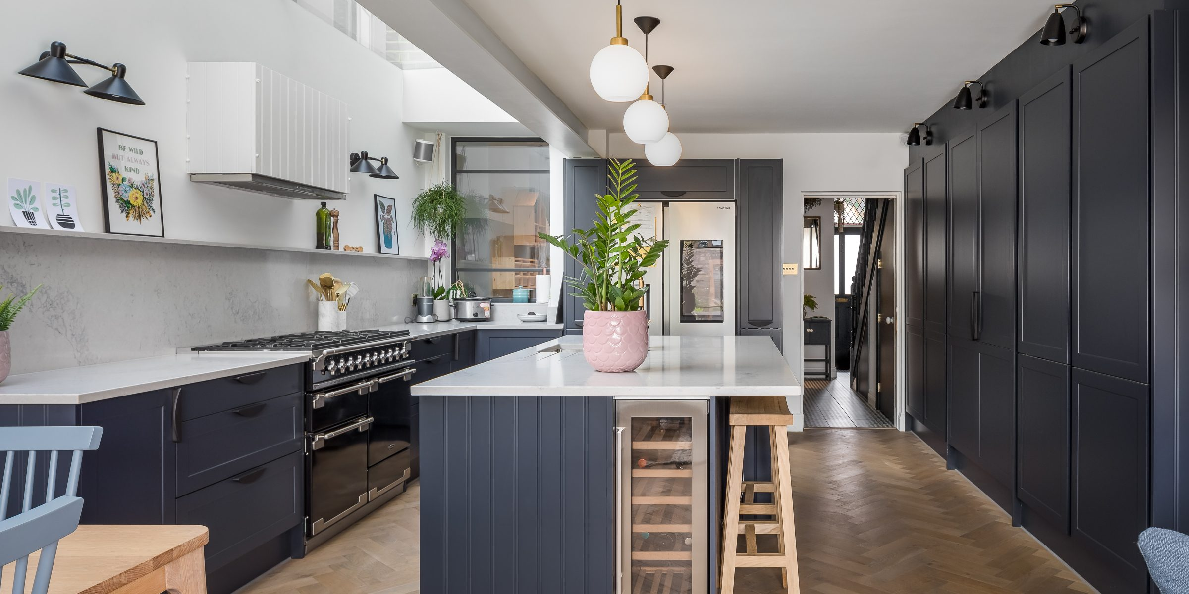 magnet kitchen with zigzag frozen umber wood floors