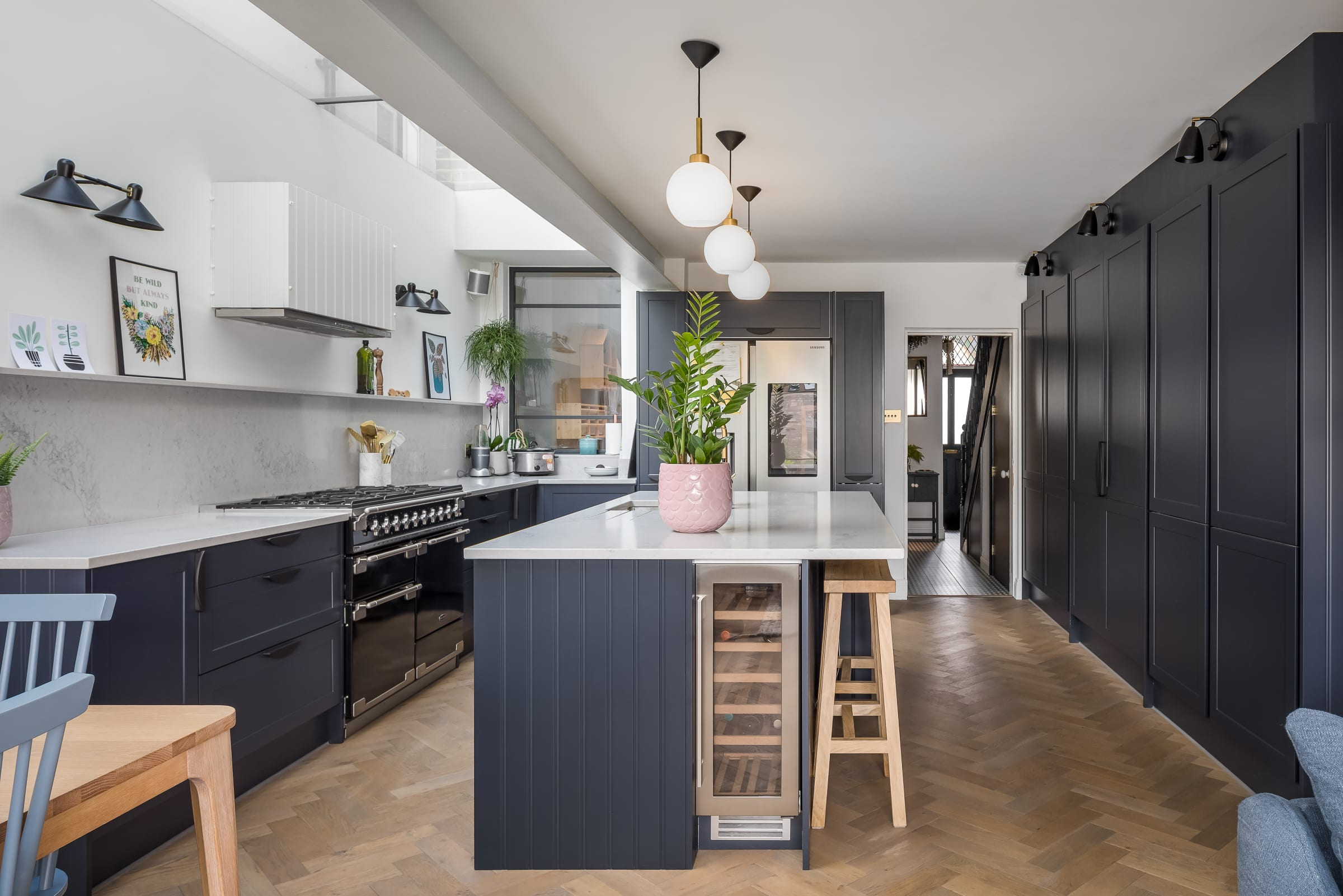 magnet kitchen with zigzag frozen umber wood floors