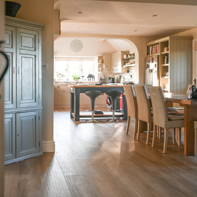 neutral kitchen with landscapes wood floors