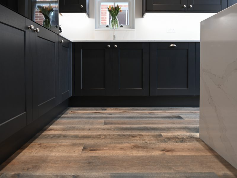 shaker kitchen with wharf grey wood floors