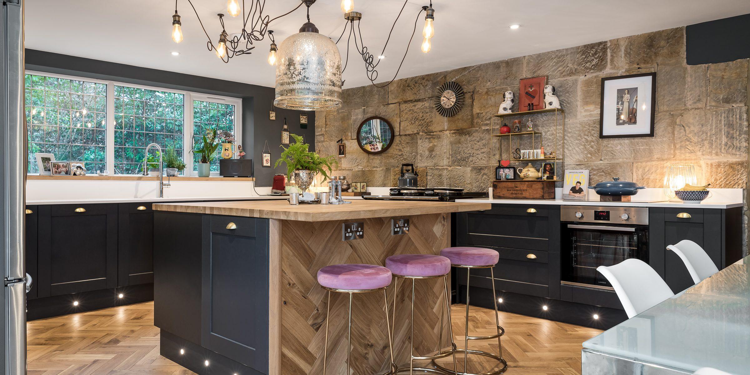 east sussex kitchen with herringbone wood floors