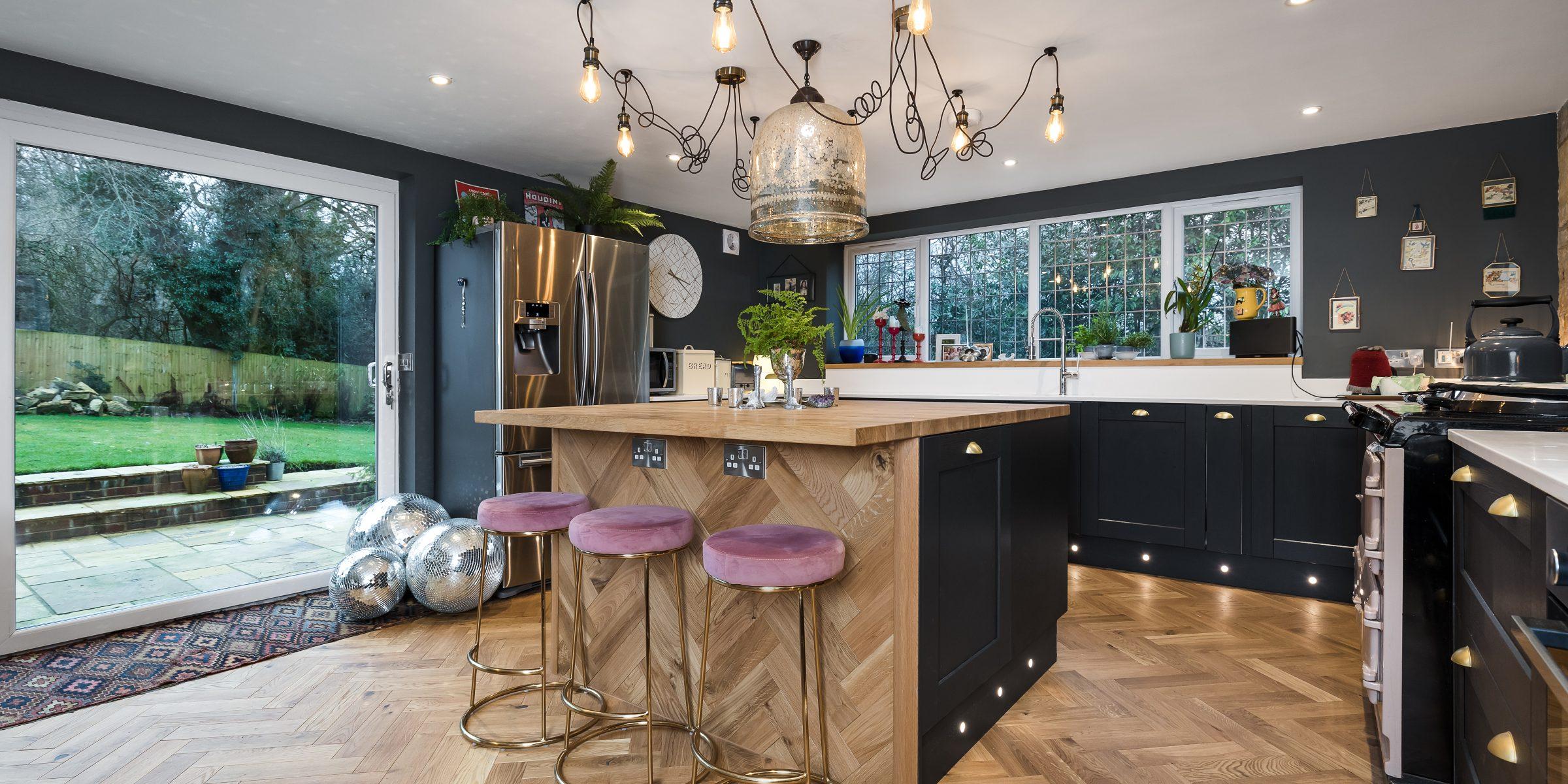 herringbone wood floors in cottage kitchen
