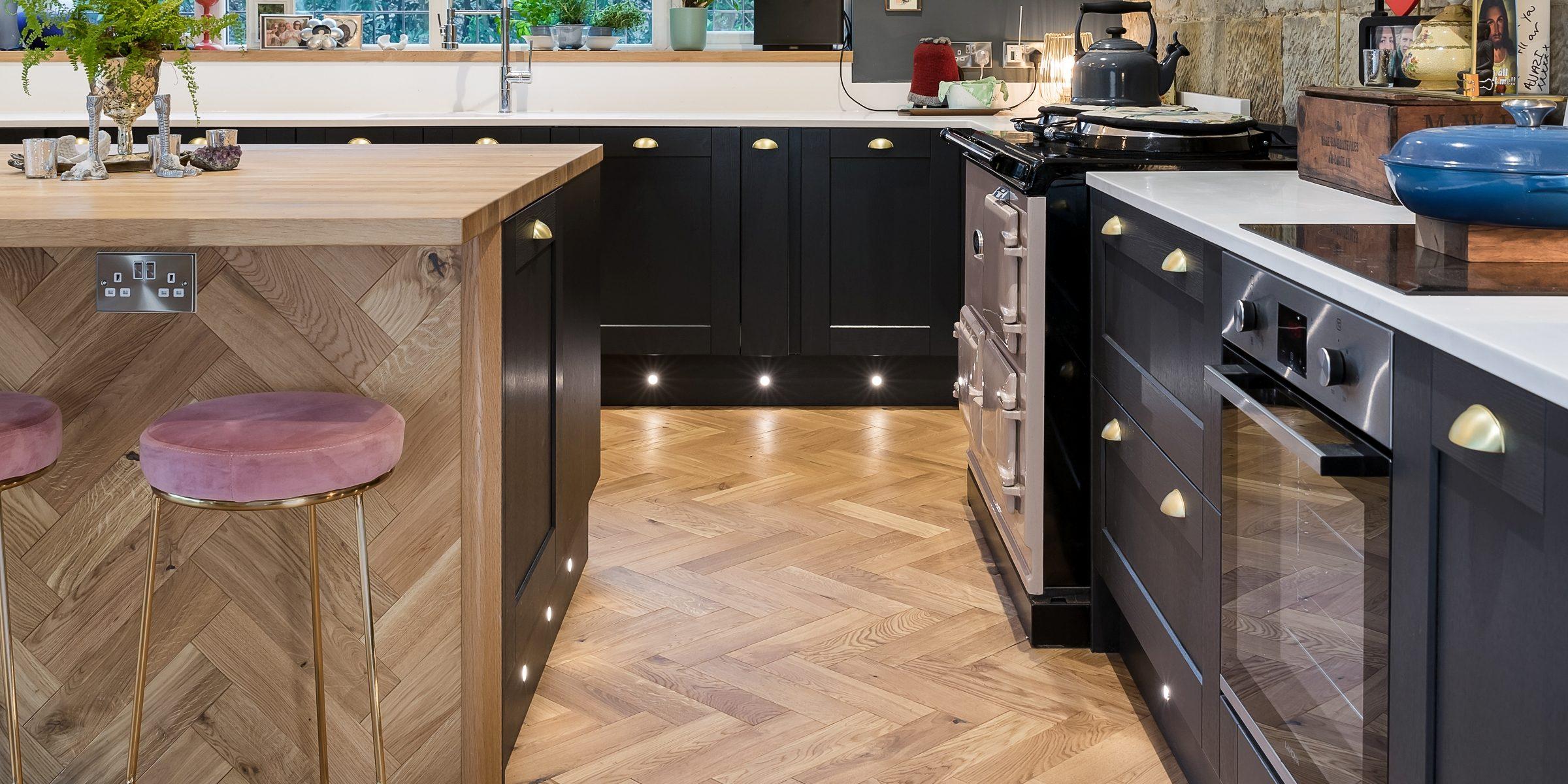 herringbone wood floors on kitchen island