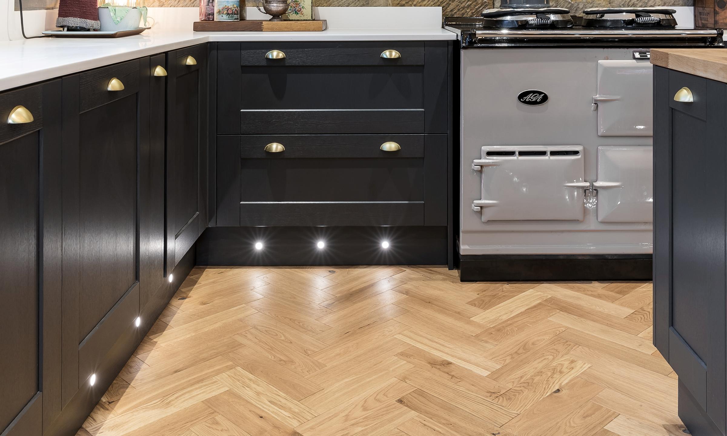 aga cooker and herringbone wood floors
