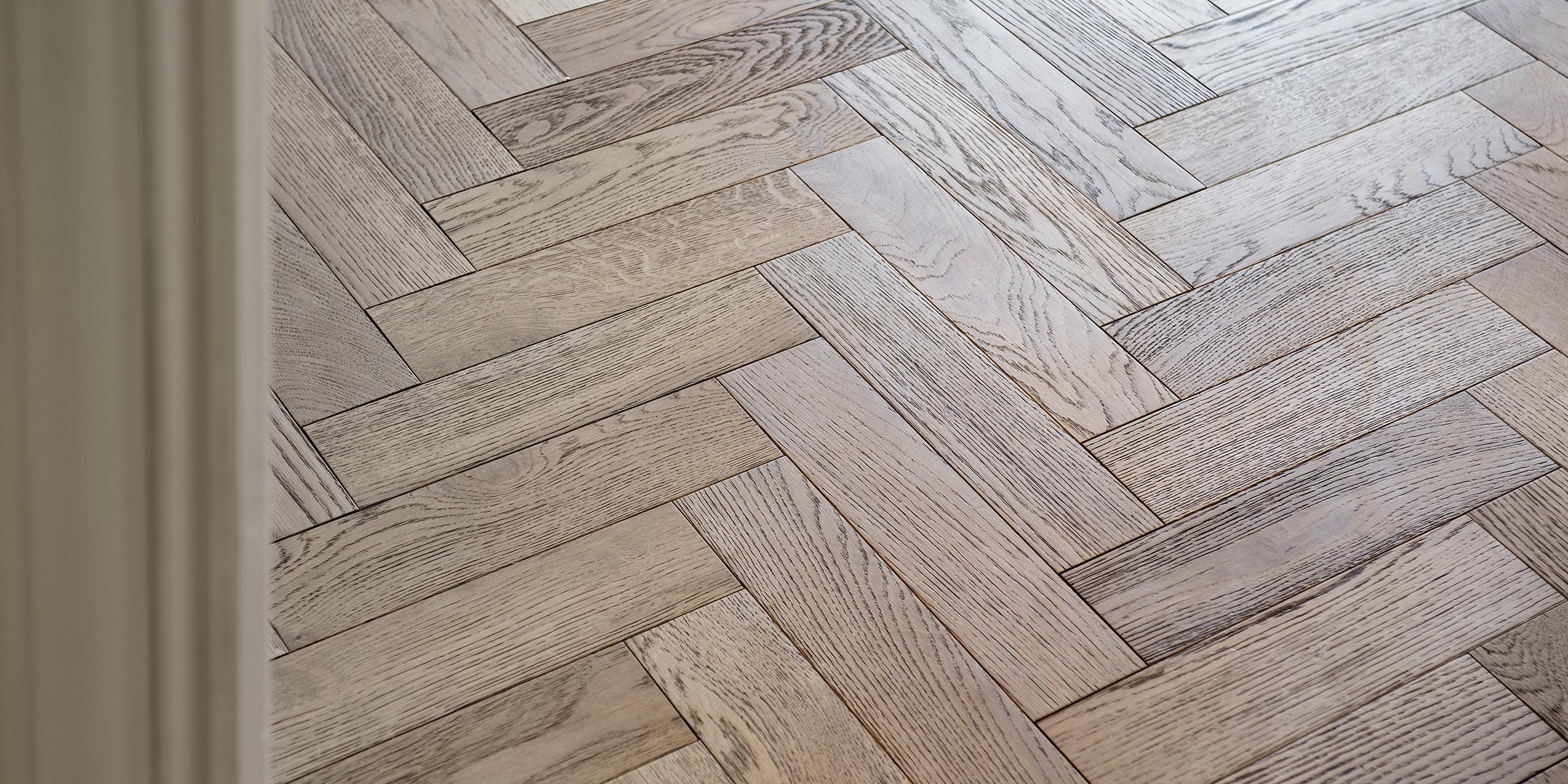mid tone herringbone wood floors