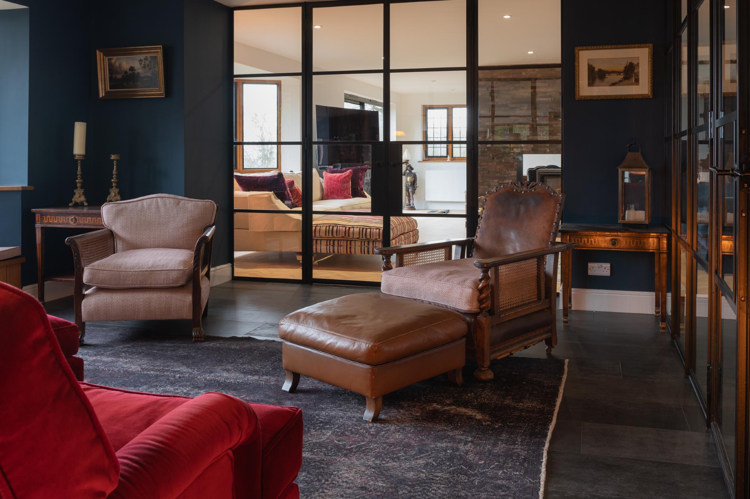 home design with titanium black concrete floors