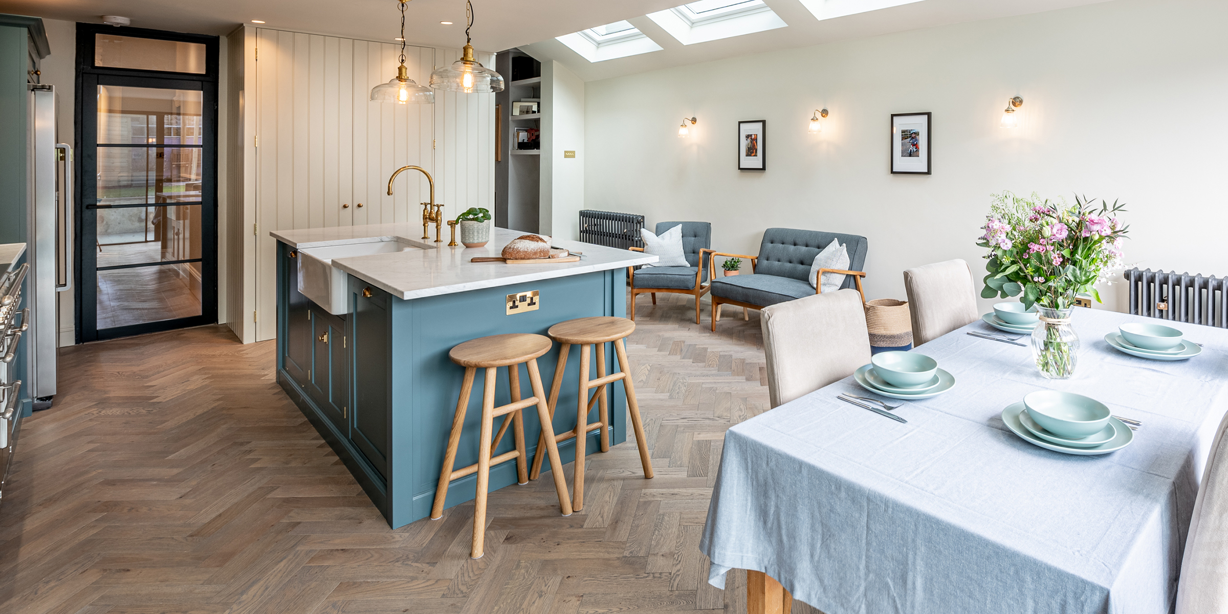 kitchen design with herringbone floors