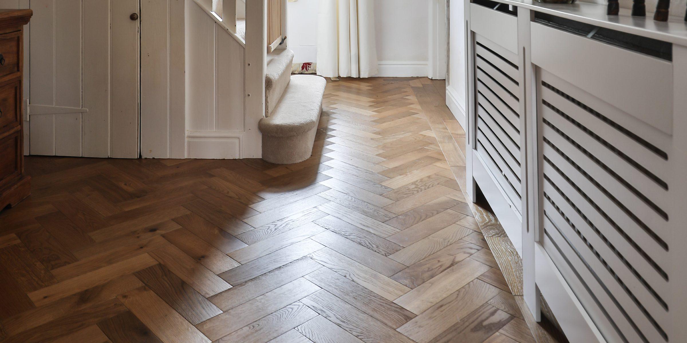 smoked oak herringbone wood floors