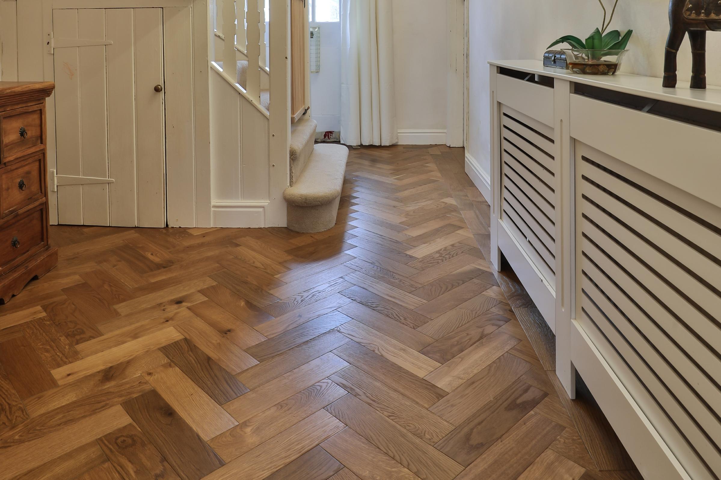 herringbone floors in hallway design