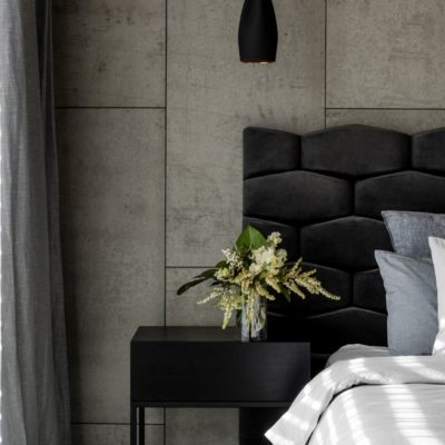 Concreate wall panels in bedroom